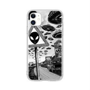 B&W UFO & Alien Print iPhone 12 Pro Max Case 👽